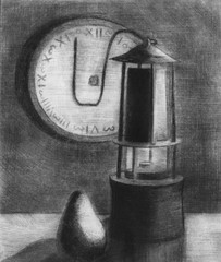 Still life with clock and bag. Etching.