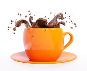 Splash of chocolate in cup 3d rendering