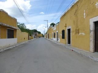 Yellow houses in Izamal, yucatan (Mexico)