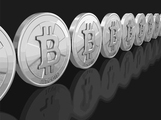 Silver bitcoin. Image with clipping path