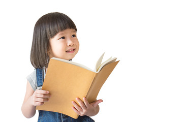 Cute asian toddler girl reading a book isolated on white background with clipping mask, Education home school and back to school concept