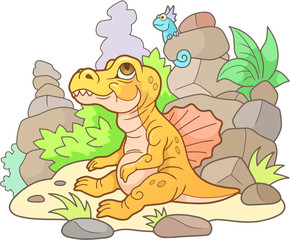 cartoon newborn Spinosaurus, cute illustration