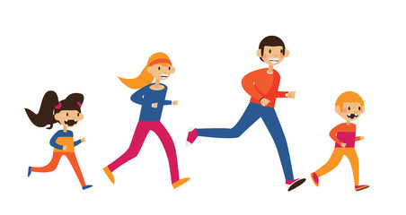 Happy family of mom, dad and two kids running in sport clothes. Isolated on white flat vector illustration