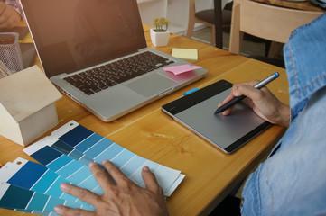 Designer graphic creative work tablet designing Creative Design Concept