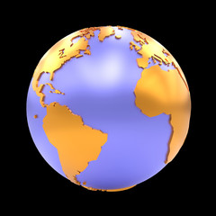 stylized Earth showing Africa, Europe, North America and South America