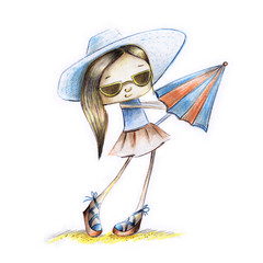 Sketch painted girl in sunglasses with umbrella in hand in summer - illustration