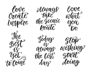Inspirational lettering set for posters, gift cards, t-shirt print