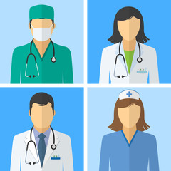 Medical icons. Doctor and nurse avatars