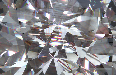 layered triangular macro diamond shapes with a small diamond over them. 3d