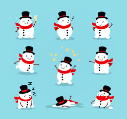 Set of cute playful snowmen. Elements from the Christmas collection of characters. Happy New Year, Merry Xmas design element. Vector illustration