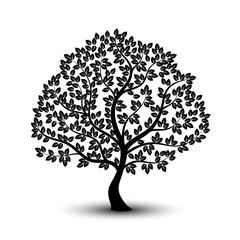 Monochrome tree icon on white background.