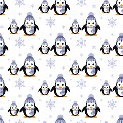 Penguins in a knitted hat. Snowfall. Seamless pattern. Vector. Flat.