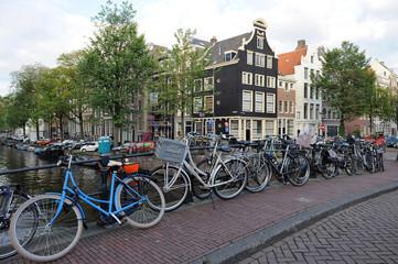 Bikes on the bridge in Amsterdam
