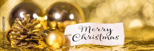 Merry Christmas Text In Englisch Panorama In Gold Mit