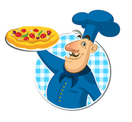 Wall Mural - Cook pizza. Chef