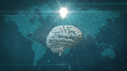 Brain in front of world map with light bulb lens flare suggesting computing concepts