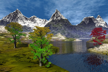 River, an alpine landscape, snowy peaks, beautiful trees and a blue sky.