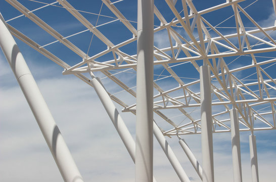 metal structure on blue thread