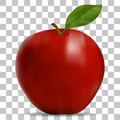 The image of the red apple on a transparent background
