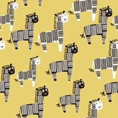 Creative seamless pattern with zebra. Childish texture for fabric, textile. Vector background