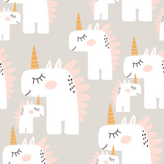 Cute seamless pattern with fairy unicorns. Childish texture for fabric, textile. Scandinavian style. Vector Illustration