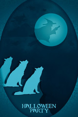 Wolf / Halloween party, silhouette of wolves howl at night with moon and witch on sky. Paper art style.