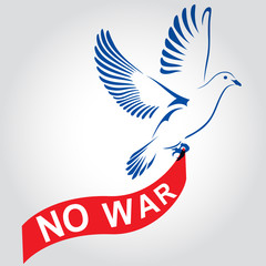Dove flying with a red ribbon with the inscription no war. Dove Of Peace. Vector illustration.
