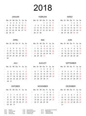 Kalender 2018 mit Feiertagen schlicht