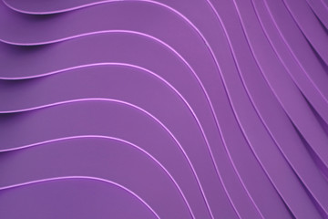 Artistic curved lines of the piled up purple color plastic bowls, for pattern and background