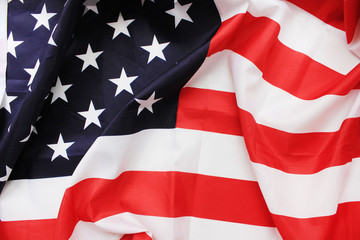 Flag of United States of America Close Up. National country symbol, also known as Stars and Stripes. Red, white and blue color, waving detailed wallpaper of American flag with 13 stripes and 50 stars