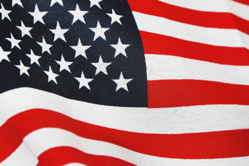 Flag of United States of America. Nation symbol, often called the Stars and Stripes with red, white and blue color. Close up waving detailed wallpaper of American flag with 13 stripes and 50 stars