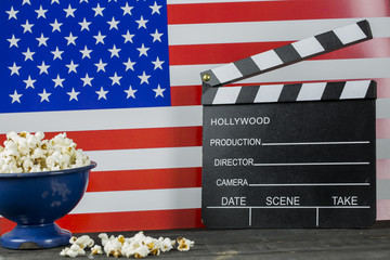 America Cinema Concept and Pop corns