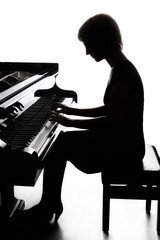 Tuinposter Muziek Piano player. Pianist playing grand piano