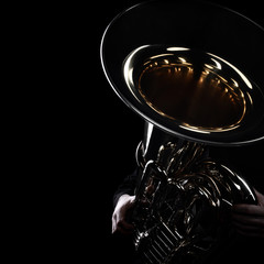 Poster Music Tuba brass instrument. Wind music instrument