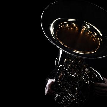 Tuba brass instrument. Wind music instrument
