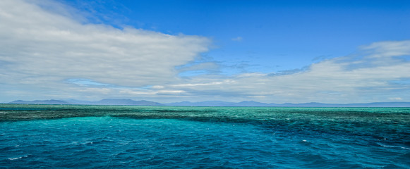 Blue and Teal Horizon of the Great Barrier Reef in Australia