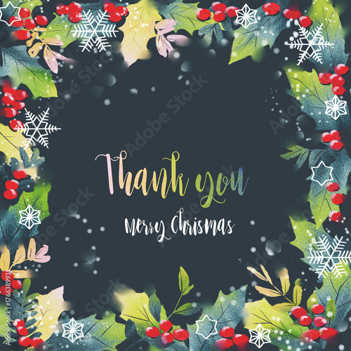 christmas card watercolor painting with hand lettering gift box for christmas digital painting - Free Digital Christmas Cards