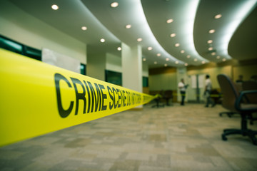 crime scene tape of  mysterious case in cenematic tone with copy space