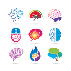 Set of Creative Brain Logo Vector - Creative Logo