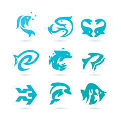 Set of Fish Logo Vector - AquaticLogo
