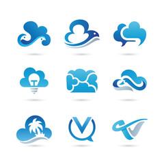 Set of Cloud Logo Vector - Colorful Modern Logo