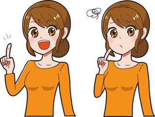 少女漫画風女性のイラストセット
