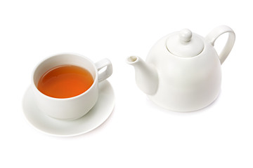 cup tea and teapot isolated on white background