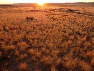 Sunset over the desert in Namibia, Africa