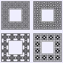 Art deco ornamental vintage frames set. Template for design. Vector illustration eps10