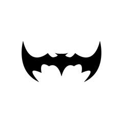 vector halloween black bat animal icon or sign isolated on white background. vector bat silhouette with wings.