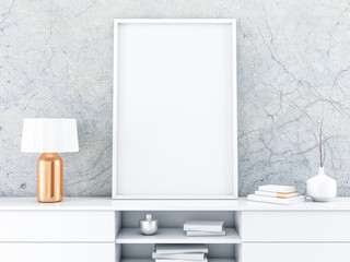 White poster Frame standing on the modern bureau with beautiful lamp. 3d rendering