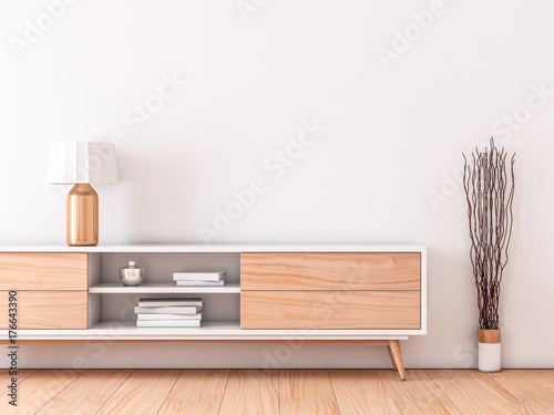 Modern interior mockup poster on wall stock illustration