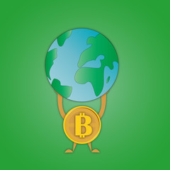 vector image coins bitcoin with a symbol in the middle that holds the planet Earth on hands symbolizing superiority over mankind on a green background