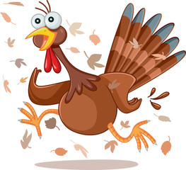 Funny Turkey Running Vector Cartoon